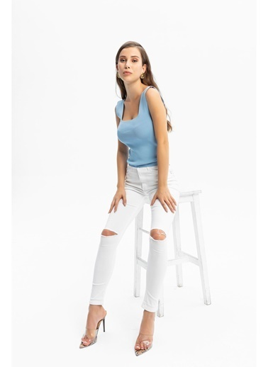 Tiffany&Tomato Dizi Kesik Jean Pantolon Beyaz